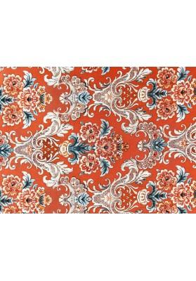 Krepa jedwabna ornament na pomarańczowym tle - 0