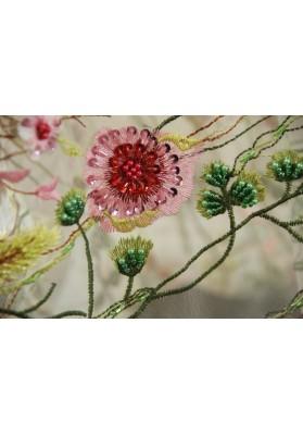 Koronka z koralikami D&G na białym tiulu - 0