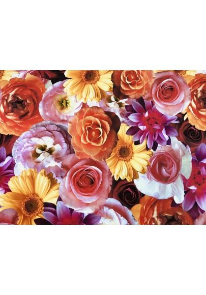 Żorżeta jedwabna duże kolorowe kwiaty - 1
