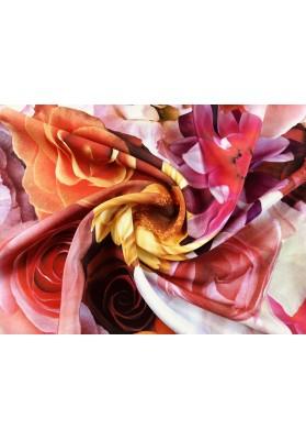 Żorżeta jedwabna duże kolorowe kwiaty - 2