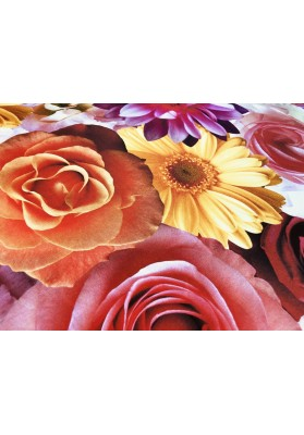 Żorżeta jedwabna duże kolorowe kwiaty - 3
