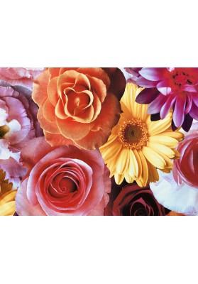 Żorżeta jedwabna duże kolorowe kwiaty - 4