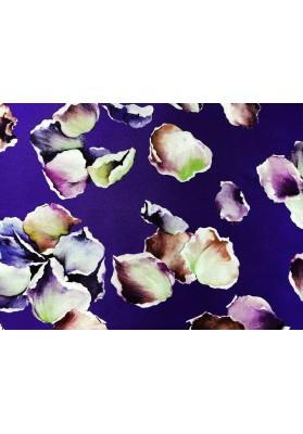 Satyna jedwabna multikolorowe kwiaty na fiolecie - 0