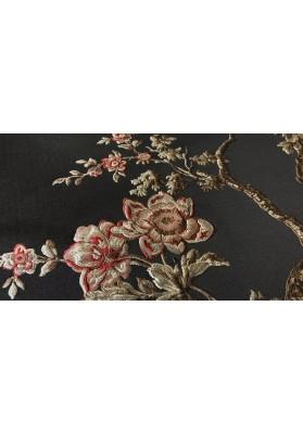 Żakard tłoczony kwiaty na czerni - 0