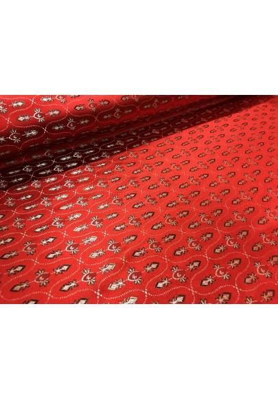 Żakard ornament czerwień - 1