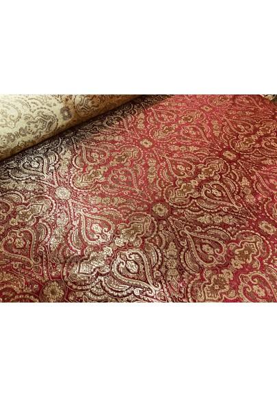 Żakard ornament złoto-czerwony - 1