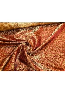 Żakard ornament złoto-czerwony - 5