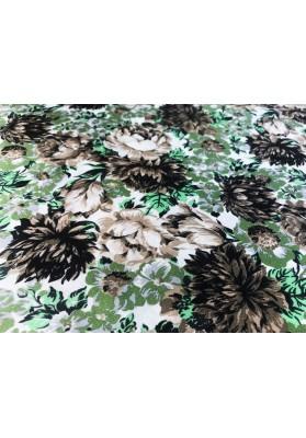 Satyna jedwabna beżowe kwiaty na zieloności - 0