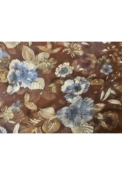 Szyfon jedwabny niebieskie kwiaty na brązie - 1
