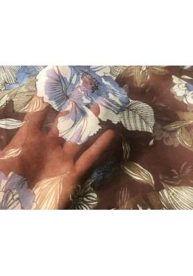 Szyfon jedwabny niebieskie kwiaty na brązie - 2