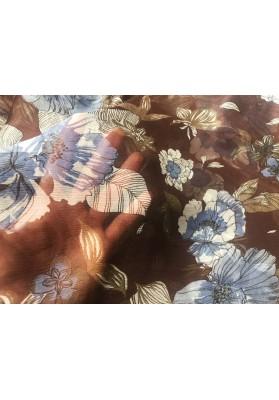 Szyfon jedwabny niebieskie kwiaty na brązie - 3