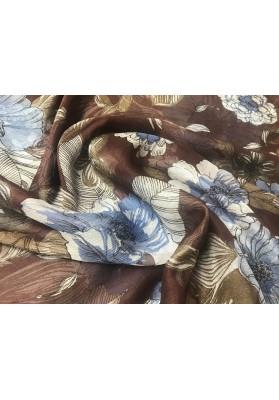 Szyfon jedwabny niebieskie kwiaty na brązie - 4