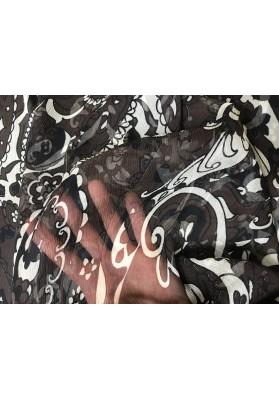 Szyfon jedwabny białe wzory na czerni - 3