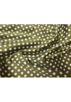 Bawełna satynowana białe kropki na oliwce - 0