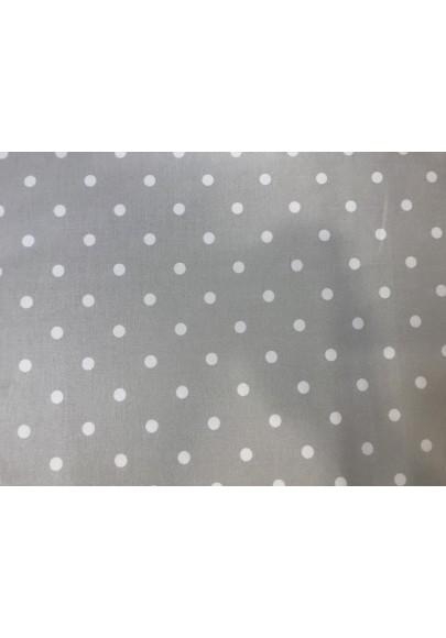 Bawełna satynowana białe kropki na jasnym popielu - 0
