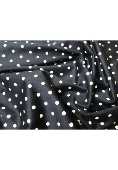 Bawełna satynowana białe kropki na czerni - 0