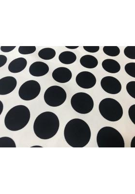 Bawełna - gabardyna czarne kropy na bieli - 0