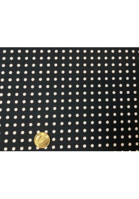 Bawełna satynowana drobne groszki na czerni - 0