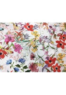 Wiskoza krepa kwiaty na jasnym tle - 0