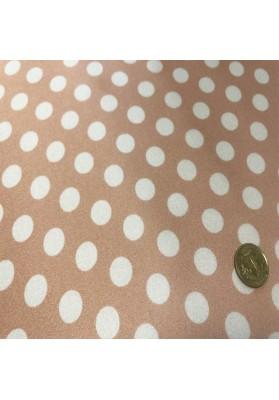Satyna jedwabna białe grochy różu - 4