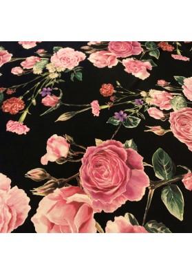 Krepa jedwabna róże na ciemnym tle - 2