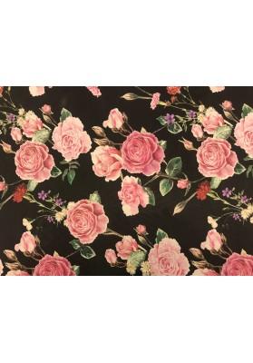 Krepa jedwabna róże na ciemnym tle - 1