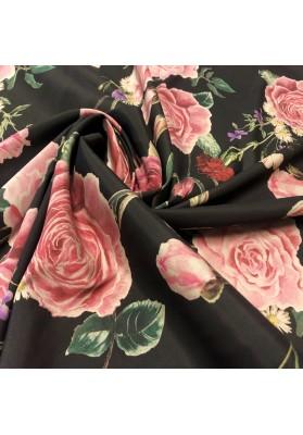 Krepa jedwabna róże na ciemnym tle - 5