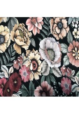 Wiskoza kolorowe kwiaty na ciemnym tle - 2