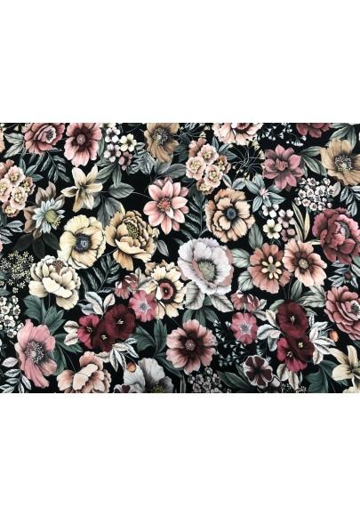 Wiskoza kolorowe kwiaty na ciemnym tle - 1