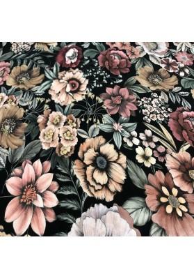 Wiskoza kolorowe kwiaty na ciemnym tle - 3
