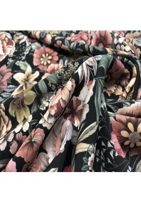 Wiskoza kolorowe kwiaty na ciemnym tle - 4