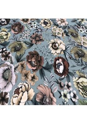 Wiskoza kwiaty na gołebim - 2