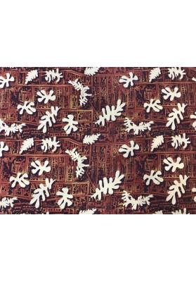 Krepa jedwabna cupro listki na brązie - 2
