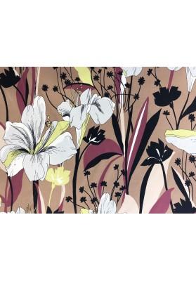 Krepa jedwabna duże kwiaty na brązie - 1