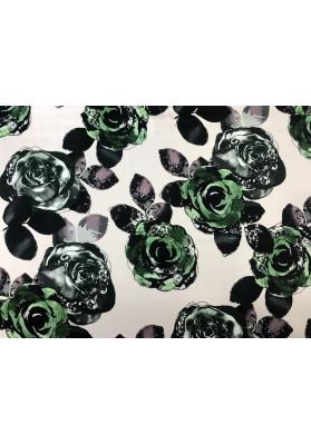 Satyna jedwabna zielone kwiaty - 1