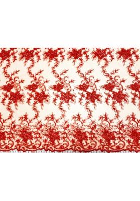 Koronka z koralikami czerwień - 1