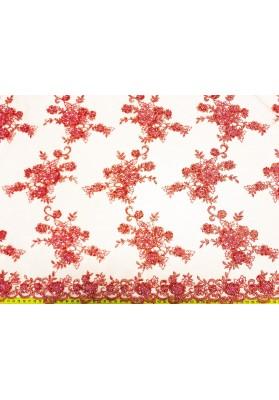 Koronka z koralikami łosoś/róż (nie czerwień) - 1
