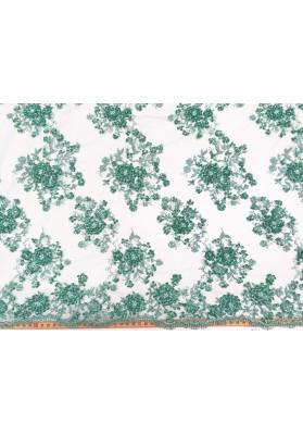 Koronka z koralikami jasny zielony turkus - 2