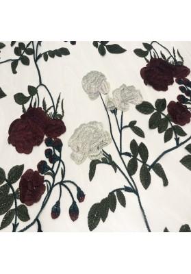 Tiul z kwiatowym haftem IV - 4
