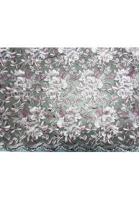 Tiul z gęstym kwiatowym haftem róż - 2
