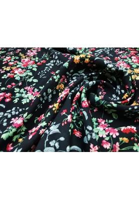 Wiskoza kolorowe kwiatki na czarnym tle - 0