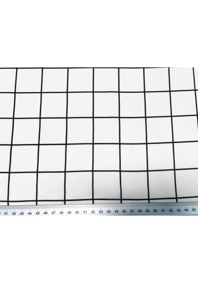 Krepa jedwabna krata na bieli - 1