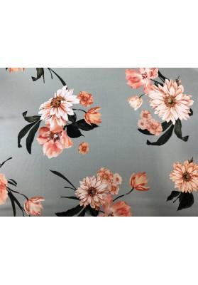 Satyna jedwabna kwiaty na jasnym seledynie - 1