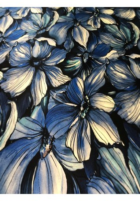 Satyna jedwabna kwiaty na granacie - 2