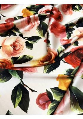 Satyna jedwabna z elastanem róże na jasno różowym tle - 1