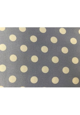 Satyna jedwabna białe groszki na błękicie - 0
