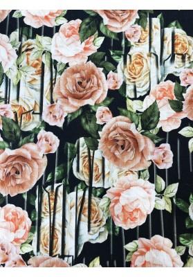 Wełna z wiskozą kwiaty na graficie - 1
