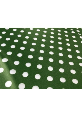 Satyna jedwabna białe groszki na zieleni - 0