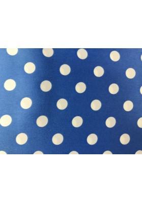 Satyna jedwabna białe groszki na niebieskim - 0