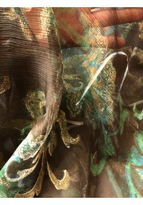 Szyfon jedwabny brąz z turkusem - 4